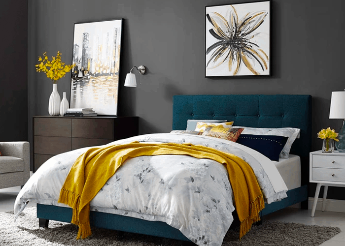 bedding with grey walls