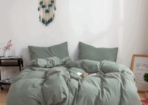 bedding with white walls