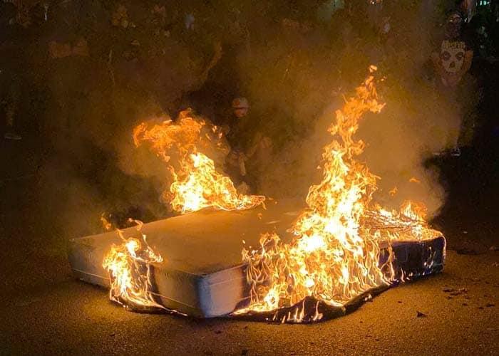 mattress on fire